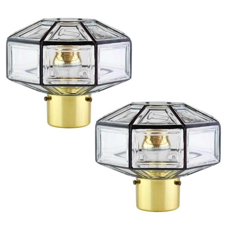 Iron And Clear Glass Flush Mount Light Fixtures By Glashutte Limburg Circa 1965