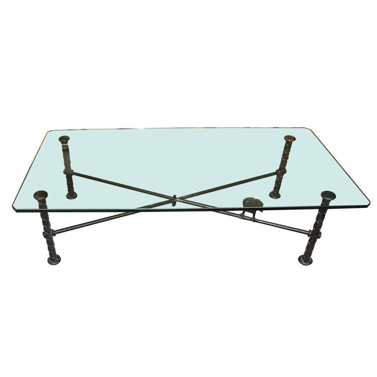 Ilana Goor Coffee Table with Bronze Bird For Sale