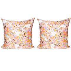 Vintage Oscar de la Renta Pink Shell Silk Scarf with Irish Linen Cushion Pillow
