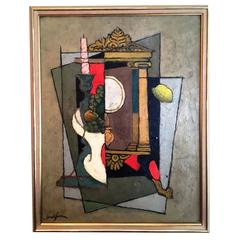 Nice Oil on Canvas by Clément Serveau, Late 1960s, Cubist Style