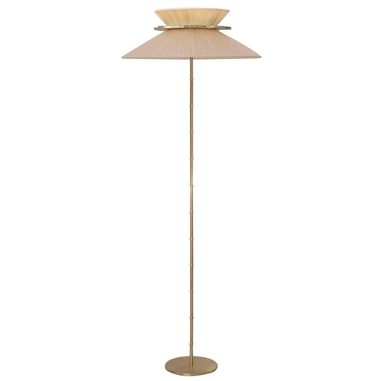 """Daisy"" Standing Lamp in Brass, ivory Silk and silvered Glass clover Handmade"