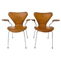 Arne Jacobsen Series 7 Leather Armchairs for Fritz Hansen, Danish, 1950s