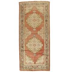 Antique Oushak Rug, Handmade Oriental Rug, Coral, Beige, Taupe Fine Rug