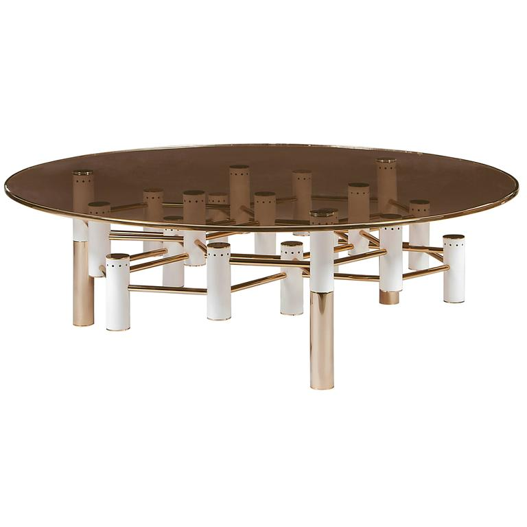 Modern Copper Coffee Table: European Mid-Century Modern Style Round Copper And Glass