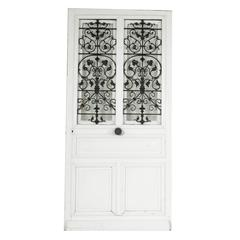 Art Nouveau Period Large Double Window Entry Door with Iron Grills