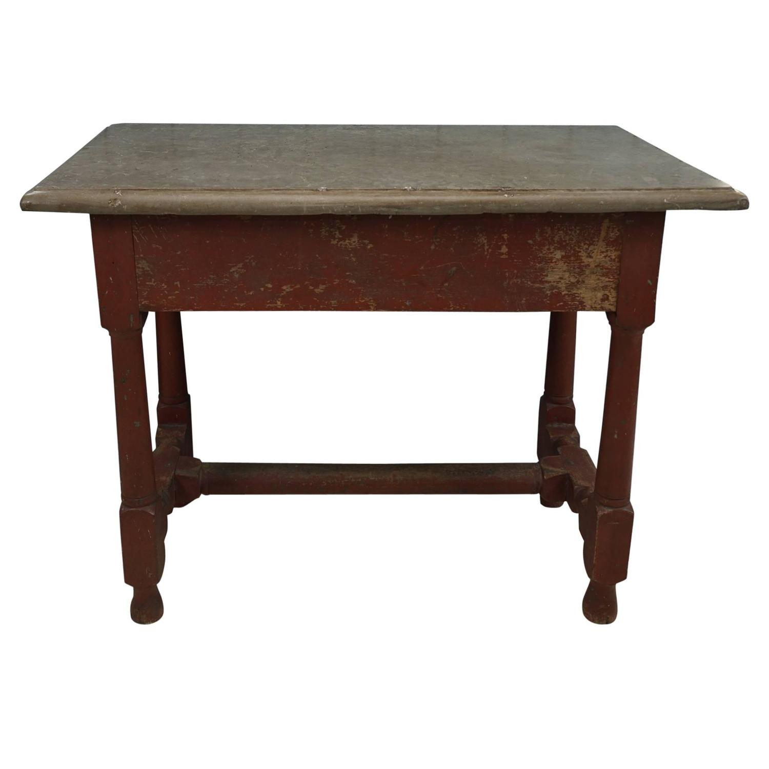 Swedish Baroque Öland Stone Top Table In Original Paint For Sale At 1stdibs