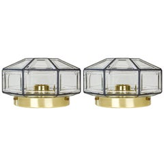 Vintage Pair of Iron & Glass Flush Mount Lights by Glashütte Limburg, circa 1965