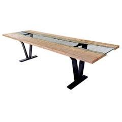 """Sentient Colorado Table 120"""" Live Edge Ambrosia Maple Slab, Blackened Steel Legs"""
