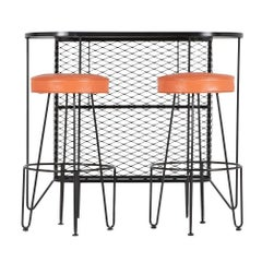 Frederick Weinberg, Restored Three-Piece Wrought Iron Bar and Stools, 1950s
