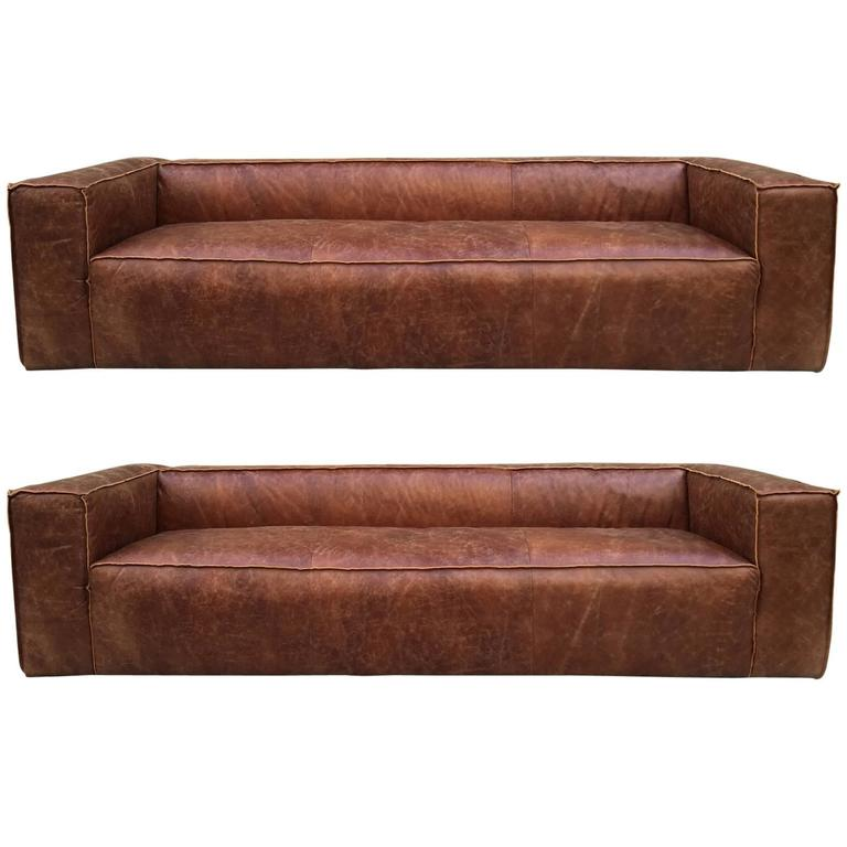 Exceptionnel Italian Distressed Leather Sofas For Sale