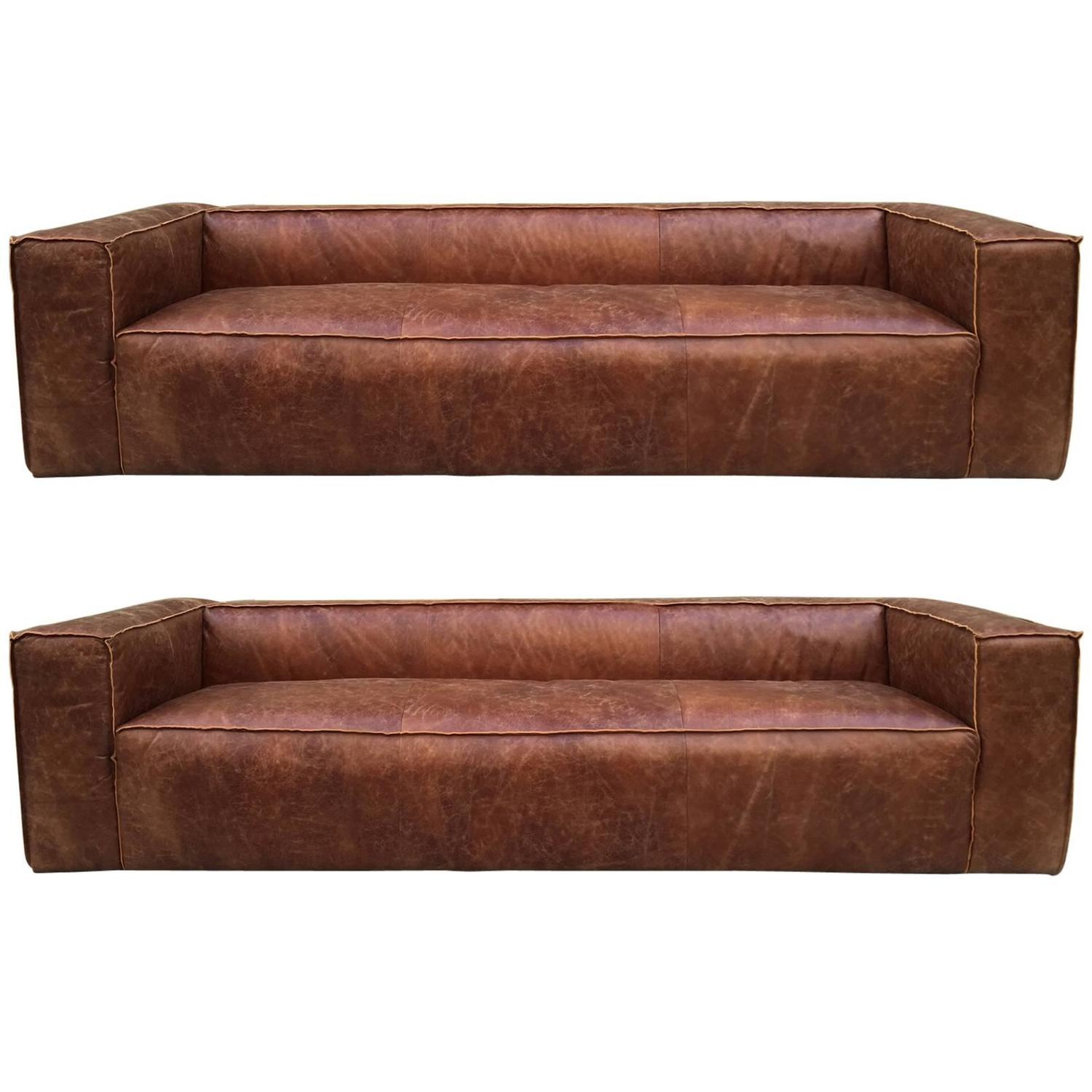 Pair 9 ft italian distressed leather sofa for sale at 1stdibs for Leather sofas for sale