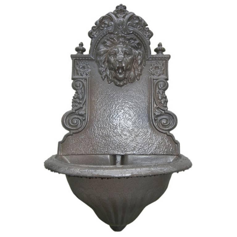 English Cast Iron, Lion Head Fountain/Planter For Sale