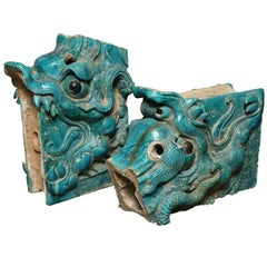 Pair of Ming Turquoise Glazed Ceramic Dragons from the 15th or 16th Century