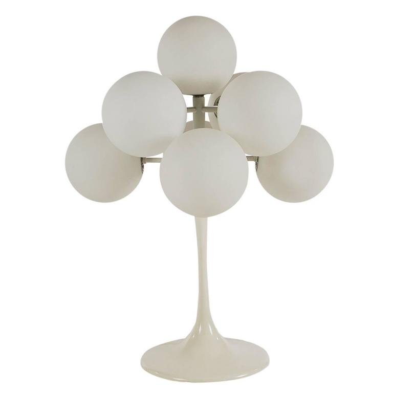 Mid-Century Modern Tulip Table Lamp by Max Bill in White For Sale