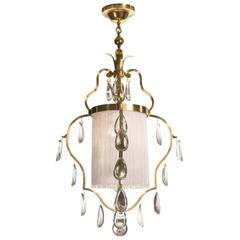 Elis Bergh for C.G. Hallberg, Swedish Brass, Silk and Glass Chandelier / Lantern