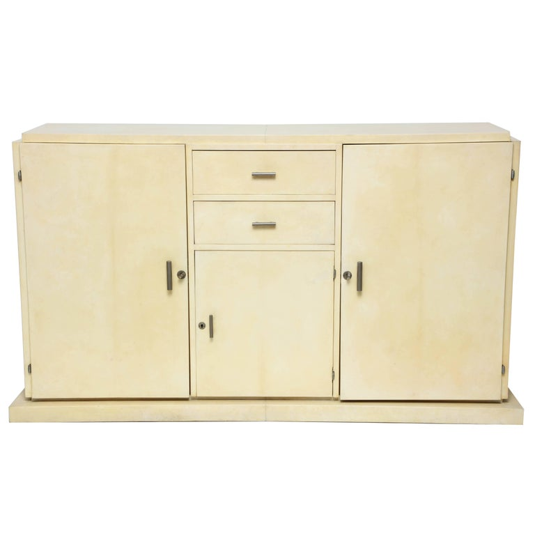 Jacques Adnet parchment sideboard, 1930s, offered by Highland Park Modern