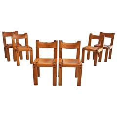 Set of Six Dining Chairs by Pierre Chapo