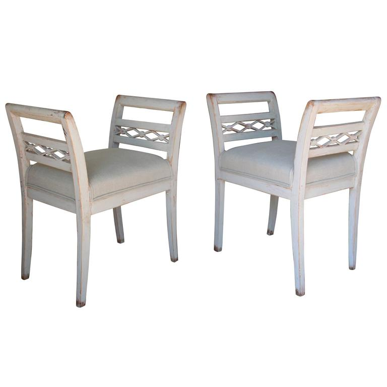 Swedish Pair of Stools in the Gustavian Style, 19th Century Antique 1