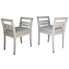 Swedish Pair of Stools in the Gustavian Style, 19th Century Antique
