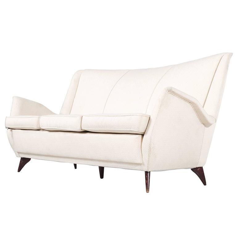 Italian Three-Seat Sofa In Off-White Fabric 1