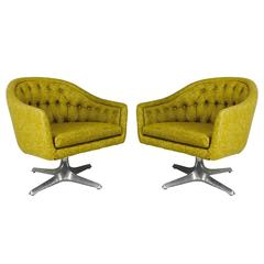 Pair of MCM Chromcraft Swivel Chairs with Propeller Pedestal Base