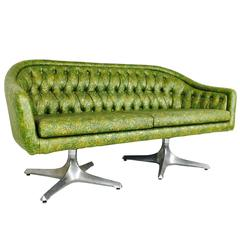 Groovy Double Pedestal Tufted Loveseat by Chromcraft