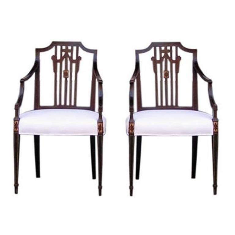 Pair of English Regency Serpentine Painted Arm Chairs.  Circa 1815