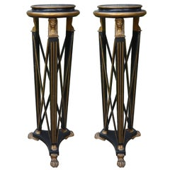 Pair Of Italian Neoclassical Style Black and Gilt Wood Pedestals, Circa. 1940