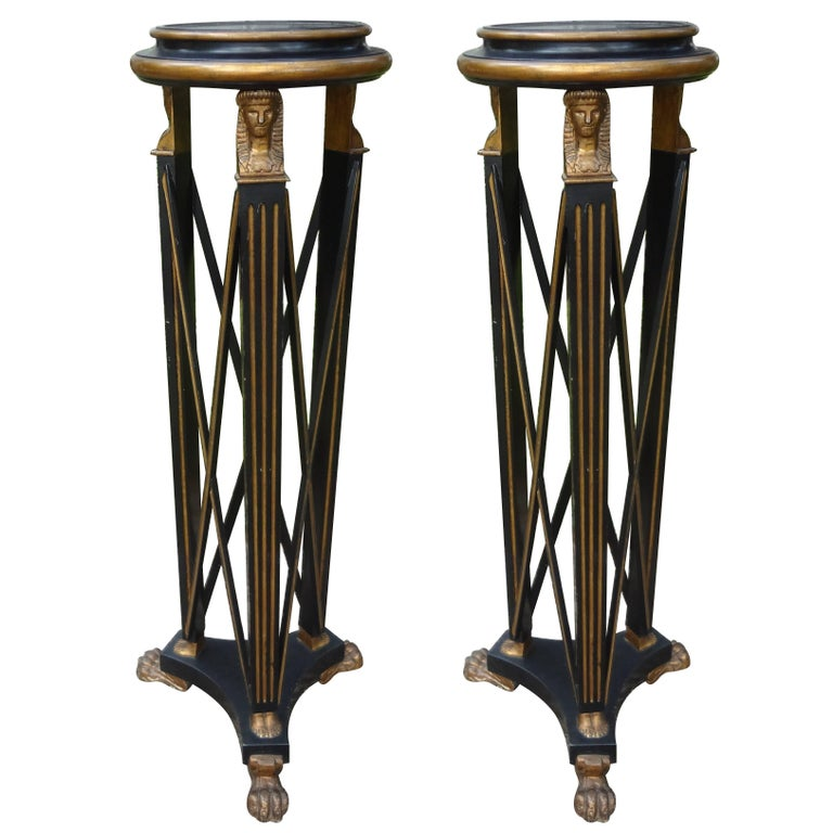 Pair Of Italian Neoclassical Style Black and Gold Pedestals, Circa. 1940