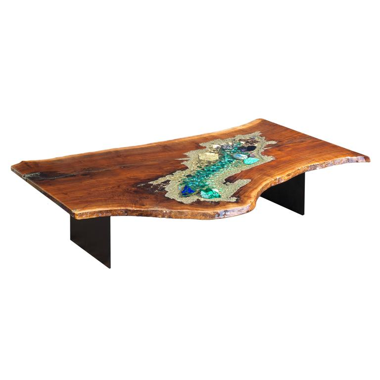 Coffee, Cocktail, Desk, Center Table in Claro Walnut with Crystals & Gemstones For Sale