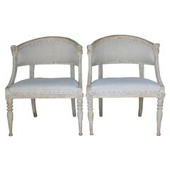 Pair Swedish Gustavian Original Paint Barrel Back Armchairs with Lions' Heads