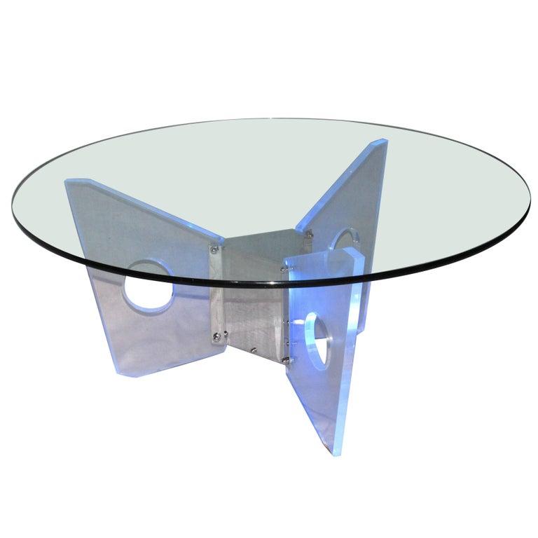 Illuminated Lucite Coffee Table, circa 1970 For Sale