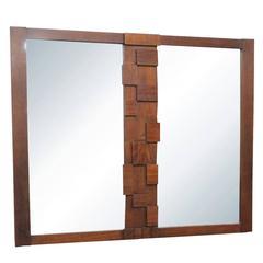 Paul Evans Style Lane Brutalist Style Mirror