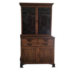 English Georgian Mahogany Bureau Bookcase