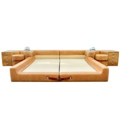 Rare Pace Leather King Bed by Guido Faleschini