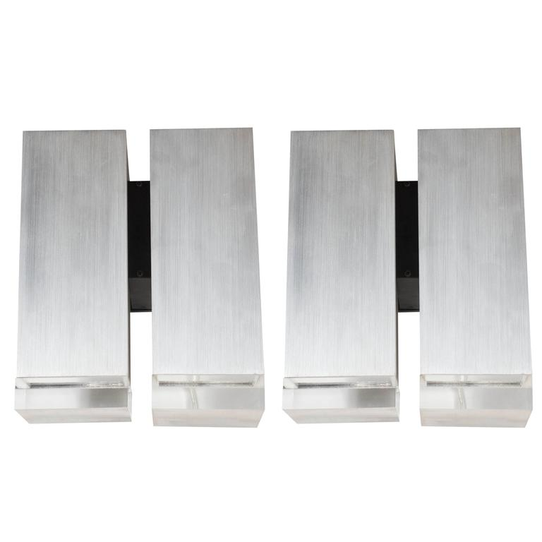 Pair of Mid-Century Brushed Aluminum Down-Light Sconce with Lucite Detailing
