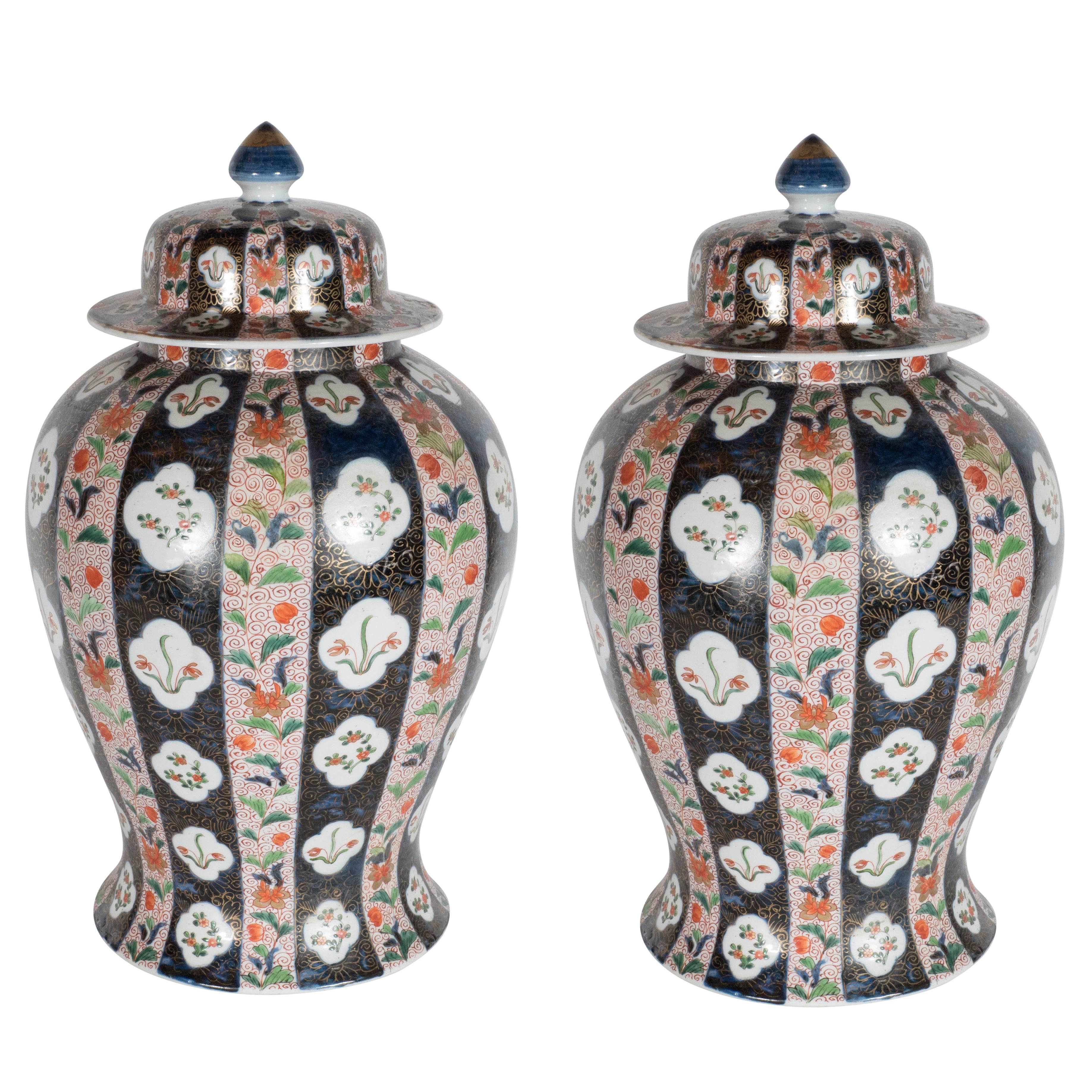 Large-Scale Antique Chinese Porcelain Famille Verte Lidded Vases / Urns