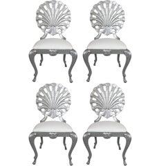Vier silberne Grotto-Stühle, Hollywood Regency