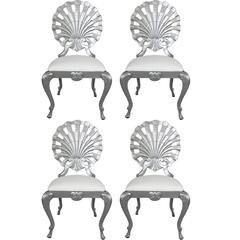 Set of Four Hollywood Regency Style Grotto Side Chairs in Silver