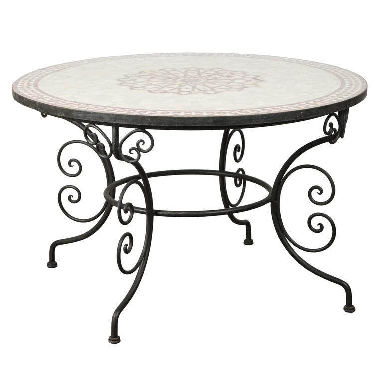 moroccan outdoor round mosaic tile dining table on iron base 47 in for sale at 1stdibs. Black Bedroom Furniture Sets. Home Design Ideas