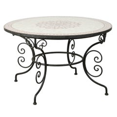 Moroccan Outdoor Round Mosaic Tile Dining Table on Iron Base 47 in.