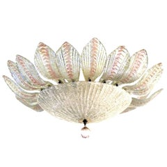 Glamorous and Large Murano Clear and Blush Bullicante Art Glass Pendant Light