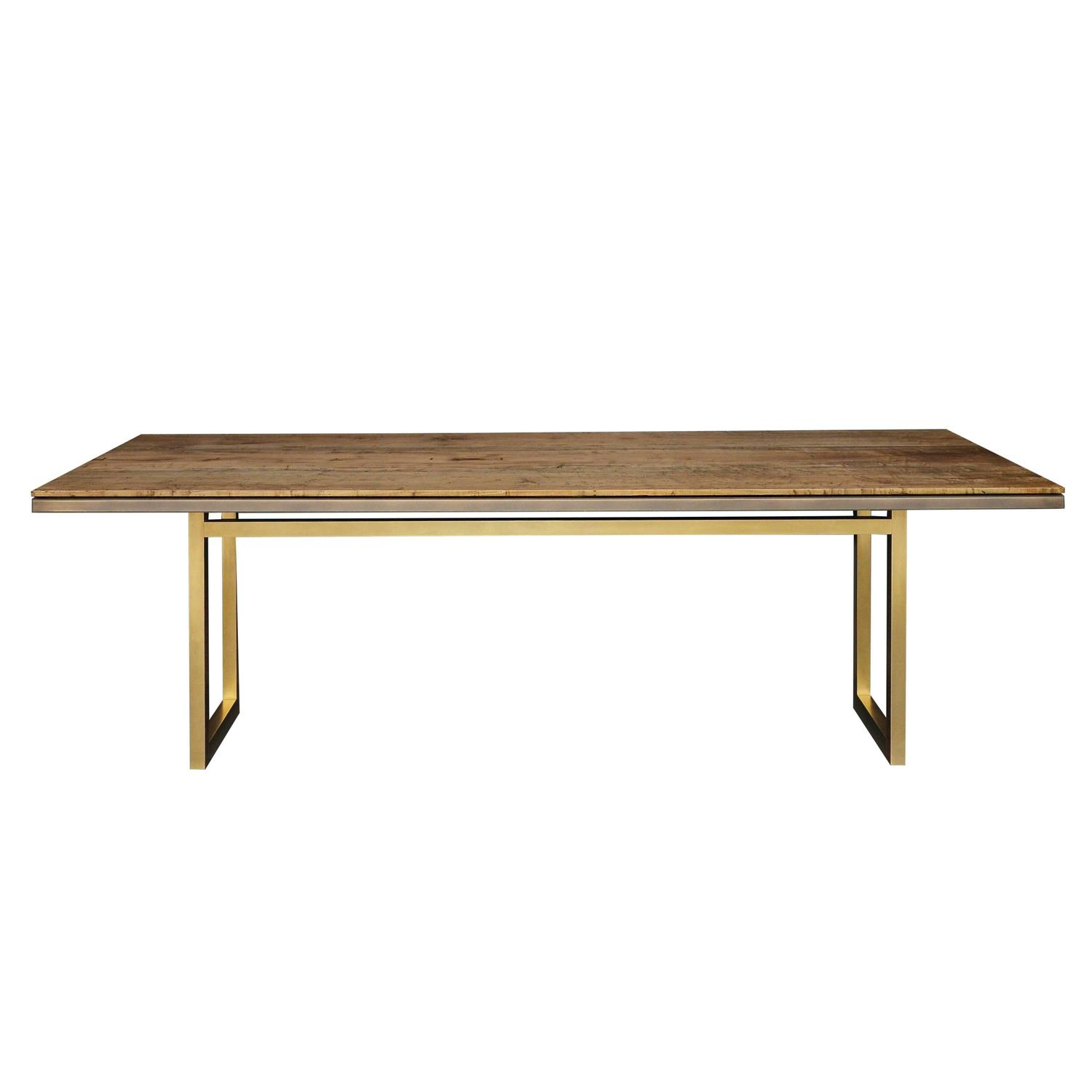 Gotham Dining Table Customizable Wood and Metal For Sale