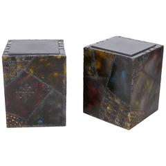 Pair of Paul Evans Welded Polychromed End Tables, 1968