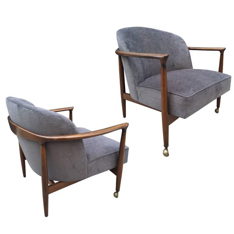 Pair Ib Kofod-Larsen Sculptural Lounge Chairs