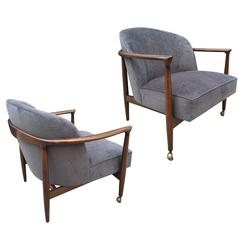 Pair Ib Kofod-Larsen Sculptural Lounge Chairs