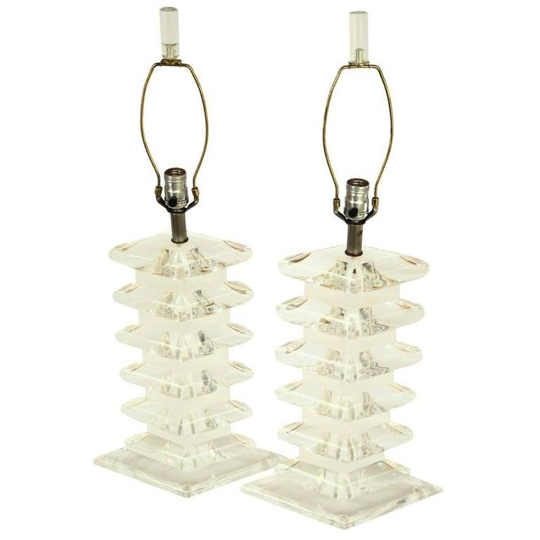 Pair of Lucite Diamond Lamps