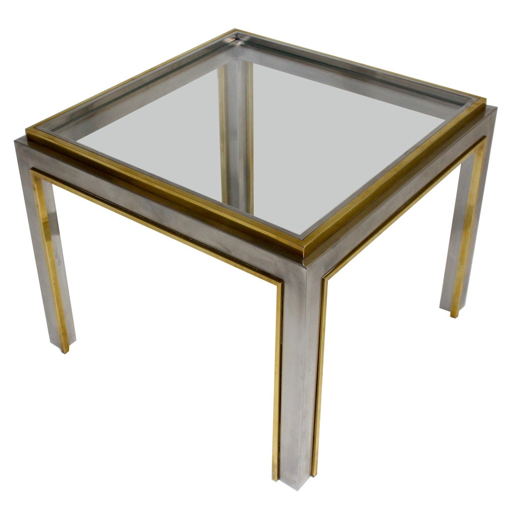 Mid Century Modern Vintage Brass Coffee Table in the style of Romeo Rega Italy