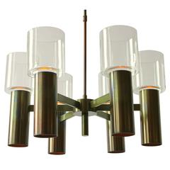 Six-Arm Twelve-Light Chandelier in the Style of Arredoluce  , 1960s , Italia