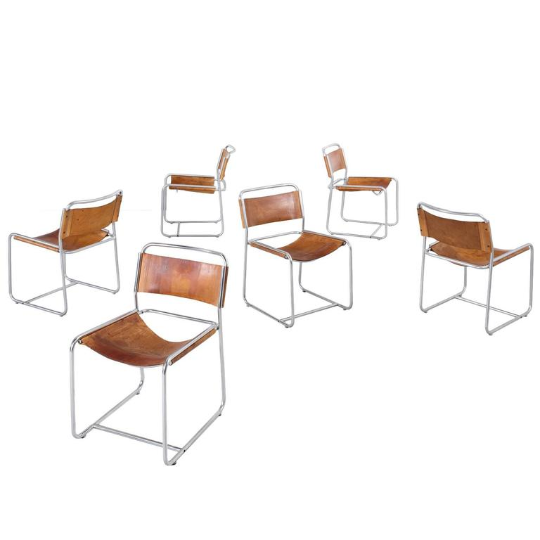 Clair Bataille & Paul Ibens Set of 6 Tubular Chairs in Cognac for 't Spectrum
